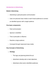 Introduction to Advertising Notes