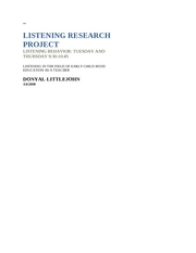 LISTENING RESEARCH PROJECT