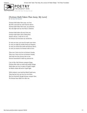 [Fortune Hath Taken Thee Away, My Love] by Sir Walter Ralegh _ The Poetry Foundation