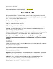 HUI 239 MIDTERM NOTES