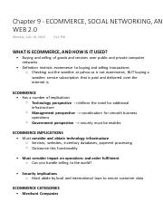 Chapter 9 - ECOMMERCE, SOCIAL NETWORKING, AND WEB 2.0
