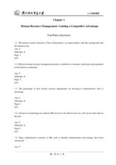Chapter 1 Human Resource Management- Gaining a Competitive Advantage