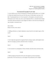 Environmental Geography Practice Quiz w/answers