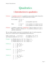Math 141 Quadratics