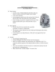 Immigrant Notes Sheet