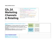 Study Guideline Exam 3 - Marketing Channels & Retailing, Marketing Communication, Advertising, Prici