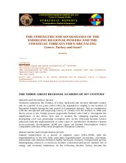 STRATEGIC REPORTS G14 - Karkazis - THE STRENGTHS AND WEAKNESSES OF THE EMERGING REGIONAL POWERS AND