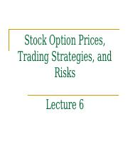 Lecture6-Option prices, trading strategies