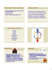 Seven Dimensions of Health-HLTH 110-Fall 2010