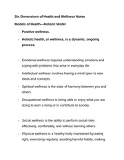 Six Dimensions of Health and Wellness Notes