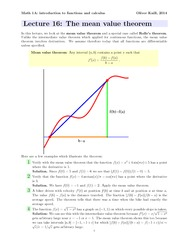 Math1a Spring 2014 Lecture 16 Rolle
