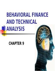 FE445 - Chapter 9 - Behavioral Finance & Technical Analysis