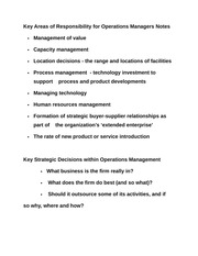 Key Areas of Responsibility for Operations Managers Notes