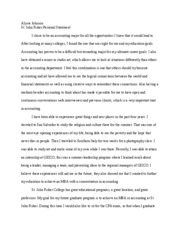 Alysse Johnson- St. John Fisher Personal Statement