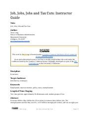 Job, Jobs, Jobs and Tax Cuts (Instructor Guide).docx