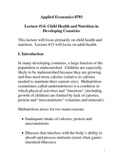 Child Health and Nutrition Notes