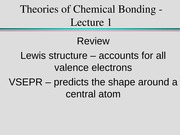 Theories of Chemical Bonding - Lecture 1