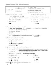 Arithmetic Sequences (AP) and Series Notes and Examples