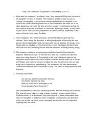 King Lear Homework Assignment: Close reading of Act 1