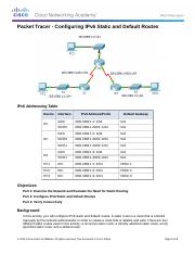 2.2.4.4 Packet Tracer - Configuring IPv6 Static and Default Routes Instructions.docx