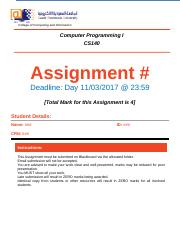 Assignments 1 - questions