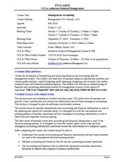 Syllabus for Management 122 - Fall 2010