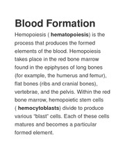 Blood Formation