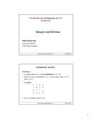 Lecture Notes on Integers and Division
