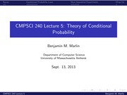 Lecture 5 - Theory of Conditional Probability