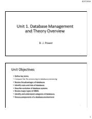 Unit1Database Management and Theory Overview