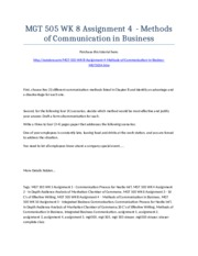 MGT 505 Week 8 Assignment 4  - Methods of Communication in Business - Strayer University NEW