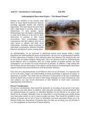 Anthropological Observation Project-The Human Primate (1)