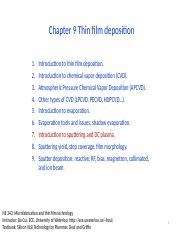 Chapter 9 Thin film deposition _ III