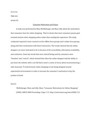 Article 2 Response- Consumer Motivation and Values