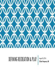 PPT 3 Defining Recreation & Play