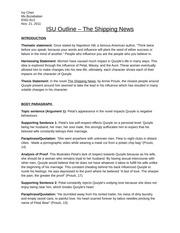shipping news essay Newfoundland stereotypes essay sample  the shipping news is a novel about a low self-esteem man from the united states of america that moves to newfoundland with his children as a result in his wife dying in a car crash this novel is very controversial because it takes place, for the most part, in newfoundland.