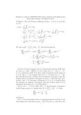 Continuous Fourier Series Notes and Answers