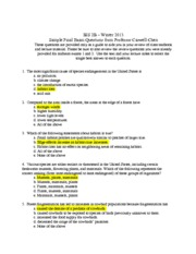 To provide - sample Final Exam Questions 2013 from Professor Caswell
