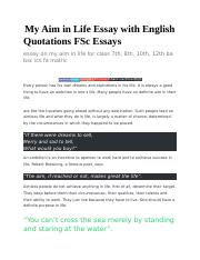My Aim in Life Essay with English Quotations FSc Essayscx