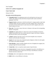 Exam 1 Study Guide for Landform Geography Lab