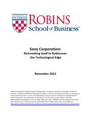 Lecture 4 - Sony Corporation Reinventing Itself 2012