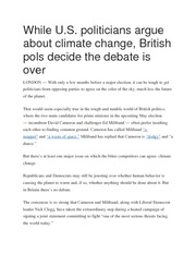 While U.S. politicians argue about climate change, British pols decide the debate is over