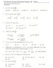 AP Calculus Chapter 3B Review Worksheet AP MC(1)