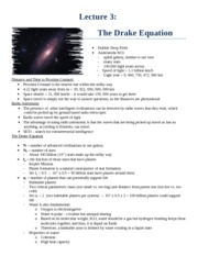 Lecture 3 - The Drake Equation