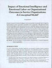 Impact of Emotional Intelligence and Emotional Labor on Organizational Outcomes in Service Organizat
