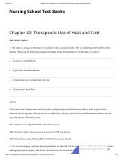 Chapter 40_ Therapeutic Use of Heat and Cold _ Nursing School Test Banks