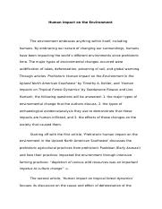Winter 2012 Anthro 8 Paper 2 Human Impact on the Environment.docx