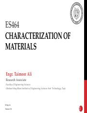 Lect 1-Introduction to Characterization of Materials