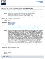 Analysis of the Roles of Smoking and Allergy in Nasal Polyposis: EBSCOhost
