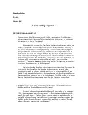 History 1112 Critical Thinking Assignment 1